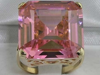 Elegant 14K Yellow Gold Square Dark Synthetic Pink Sapphire Solitaire Ring