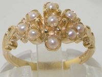 Dainty 9K Yellow Gold Freshwater Pearl Cluster Ring