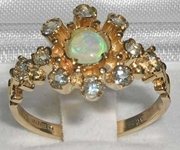 Stunning 9K Yellow Gold Opal and Aquamarine Cluster Ring