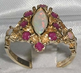 Stunning 9K Yellow Gold Marquise Opal and Ruby Cluster Ring