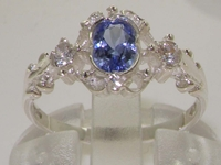 Dainty Georgian Inspired Tanzanite and Diamond Trilogy Ring