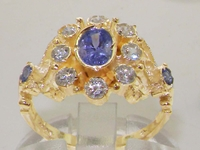 Stunning 9K Yellow Gold Tanzanite and Diamond Cluster Ring