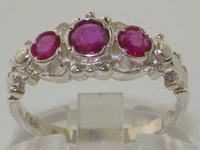 Stunning 10K White Gold Natural Ruby Trilogy Ring