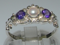 Beautiful 18K White Gold Pearl and Amethyst Trilogy Ring
