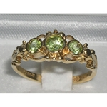 Dainty 9K Yellow Gold Peridot Trilogy Ring
