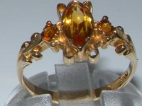 Exquisite 9K Yellow Gold Marquise Madeira Citrine Trilogy Ring