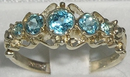 Stunning Georgian Inspired 9K White Gold Blue Topaz Five Stone Ring