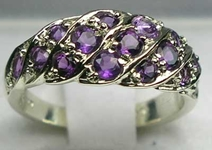 Stunning 9K White Gold Amethyst Band Ring