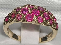 Vibrant 9K Yellow Gold Ruby Band Ring