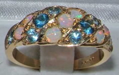 Lavish 9K Yellow Gold Australian Opal & Blue Topaz Band Ring