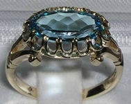 Exquisite 9K Yellow Gold Blue Topaz Oval Solitaire Ring