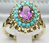 Exquisite 9K Yellow Gold Amethyst and Turquoise Flower Cluster Ring