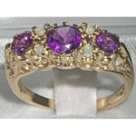 Elegant 9K Yellow Gold Amethyst and Opal Victoriana Design Dress Ring