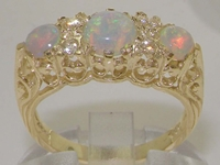 Stunning 9K Yellow Gold Opal and Diamond Dress Ring