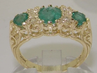 Elegant 9K Yellow Gold Emerald and Diamond Dress Ring