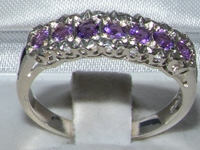 Gorgeous Ornate Sterling Silver Amethyst Half Eternity Ring