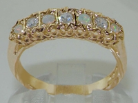 Elegant 9K Yellow Gold Diamond and Opal Half Eternity Ring