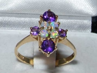 Dainty 9K Yellow Gold Opal and Amethyst Ring