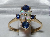 Dainty 9K Yellow Gold Opal and Sapphire Ring