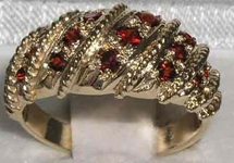 Ornate 9K Yellow Gold Garnet Ring