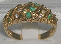 Ornate 9K Yellow Gold Emerald and Cubic Zirconia Ring