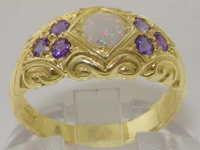Beautiful 9K Yellow Gold Opal and Amethyst Ring