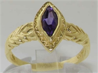 9K Yellow Gold Marquise Amethyst Solitaire Ring
