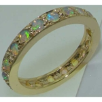 Elegant 9K Yellow Gold Opal Full Eternity Ring