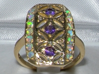 Vibrant Art Deco Design Amethyst and Opal Ring