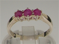 Beautiful Sterling Silver Ruby Set Trilogy Ring