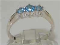 Modern Sterling Silver Blue Topaz Trilogy Ring