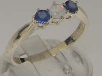 Vibrant Sterling Silver Opal and Sapphire Trilogy Ring