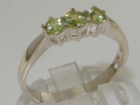 Stunning Sterling Silver Peridot Set Trilogy Ring
