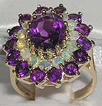 Glamorous 9K Yellow Gold Amethyst and Opal Cluster
