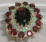 Stunning 9K Yellow Gold Garnet and Opal Cluster Ring