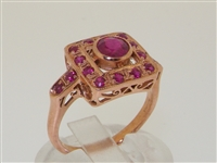 Stunning Square Art Deco Design 9K Rose Ruby Gold Ring