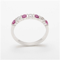 Elegant Platinum Diamond & Ruby Half Eternity Ring