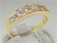 Classic Design 18K Yellow Gold Diamond Half Eternity Ring