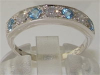 Elegant 14K White Gold Diamond and Blue Topaz Half Eternity Ring