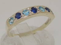 Beautiful 14K White Gold Sapphire and Blue Topaz Half Eternity Ring