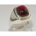 Elegant Mens Sterling Silver Synthetic Ruby Signet Ring