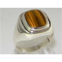 Stunning Mens Sterling Silver Tiger Eye Signet Ring