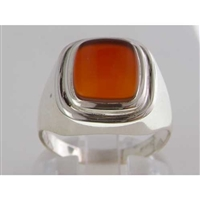 Sophisticated Mens Sterling Silver Carnelian Signet Ring