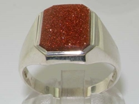 Glittering Mens Sterling Silver Goldstone Signet Ring