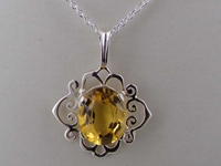 Ornate 9K White Gold Scroll Design Citrine Solitaire Pendant & Necklace