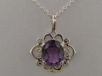 Ornate 9K White Gold Scroll Design Amethyst Solitaire Pendant & Necklace