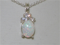 Stunning 9K White Gold Natural Opal and Diamond Pendant & Necklace