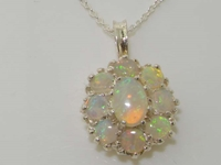 Luxurious 9K White Gold Australian Opal Pendant & Necklace