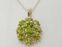 Luxurious Sterling Silver Peridot Cluster Pendant & Necklace