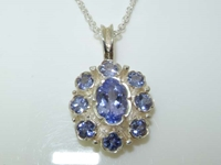 Dainty 9K Sterling Silver Tanzanite Pendant Necklace